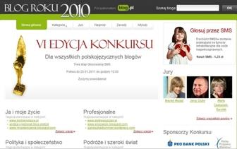 Widok strony głównej konkursu Blog Roku 2010